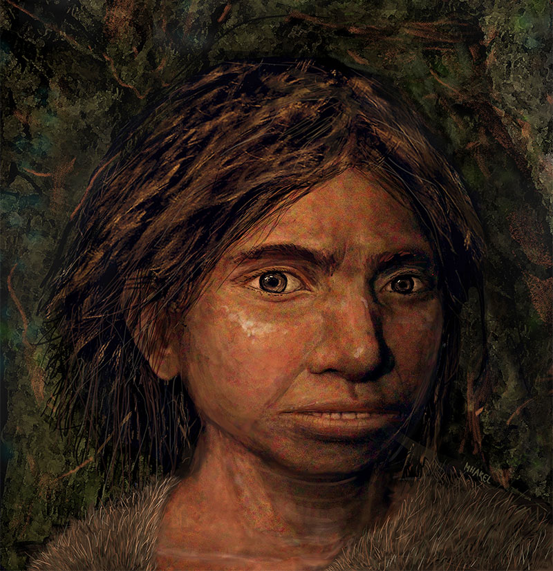 Portrait of a female Denisovan teen.