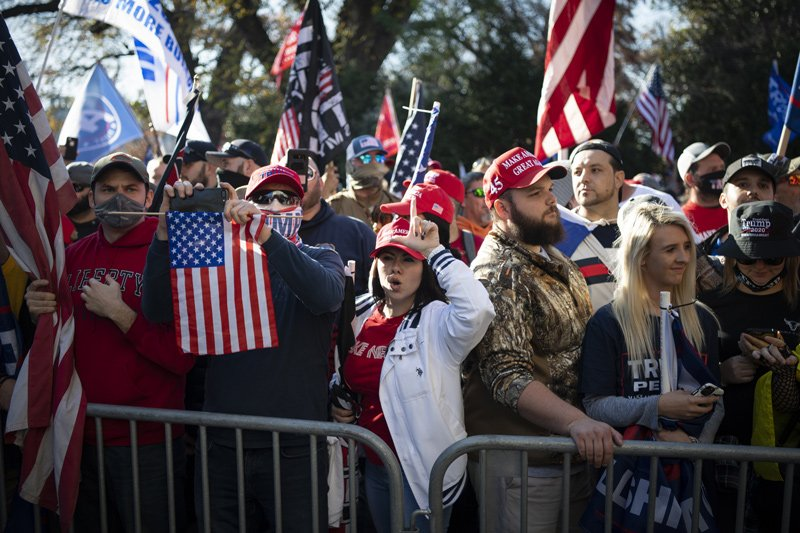 Trump supporters face off against counterprotesters at the Million MAGA March in Washington on Nov. 14, 2020.